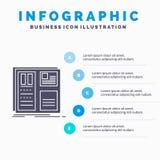 Ontwerp, net, interface, lay-out, ui Infographics-Malplaatje voor Website en Presentatie GLyph Grijs pictogram met Blauwe infogra stock illustratie
