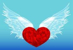 Ontwerp rood hart met vleugels Vector Geïsoleerd op blauwe achtergrond stock illustratie