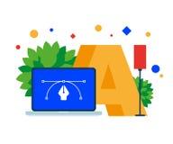 Ontwerp, typografie, Bezier-krommen op het laptop scherm vector illustratie