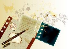 Ontwerp in uitstekende stijl met notaboek Stock Foto