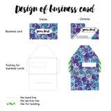 Ontwerp van adreskaartje met verpakking stock illustratie