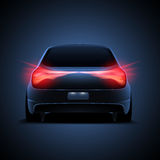 Ontwerp van autosilhouet met rode parkeerlichten o Stock Afbeeldingen