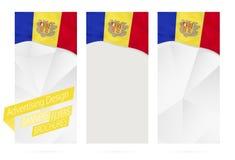 Ontwerp van banners, vliegers, brochures met vlag van Andorra vector illustratie