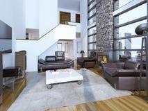 Ontwerp van comfortabele moderne woonkamer Stock Afbeelding