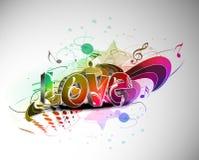 Ontwerp van de de dag grunge 3d liefde van valentijnskaarten Stock Illustratie