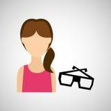 ontwerp van de de glazen 3d film van het vrouwenkarakter Vector Illustratie