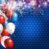 4 ontwerp van de de onafhankelijkheidsdag van juli het gelukkige van ballon met vuurwerk  Royalty-vrije Stock Foto