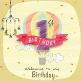 Ontwerp van de de Uitnodigingskaart van de jonge geitjes het 1st Verjaardag Stock Afbeeldingen