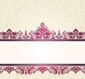 Ontwerp van de Ecru het bleke uitstekende uitnodiging met rode ornamenten Royalty-vrije Stock Afbeelding