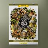 Ontwerp van de het Bier fest affiche van beeldverhaal het hand getrokken krabbels royalty-vrije illustratie