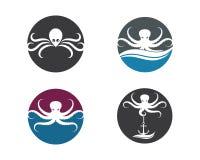 ontwerp van de het embleem het vectorillustratie van het octopuspictogram stock illustratie