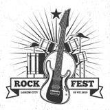Ontwerp van de het festivalaffiche van de Grunge het zwart-wit rots Het vectorembleem van de Hipstermuziek Stock Fotografie