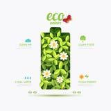 Ontwerp van de het symboolvorm van de ecologie het infographic batterij Sparen Aard Stock Foto's