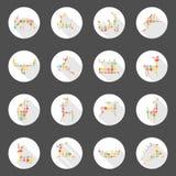 Ontwerp van de het Web het lange schaduw van hertenpictogrammen Stock Foto's