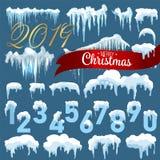 Ontwerp van de de ijskegel het vastgestelde Winter van het sneeuwijs 2019 het malplaatje van de Kerstmissneeuw Sneeuwdiekaderdeco vector illustratie