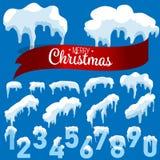 Ontwerp van de de ijskegel het vastgestelde Winter van het sneeuwijs 2019 het malplaatje van de Kerstmissneeuw Sneeuwdiekaderdeco royalty-vrije illustratie