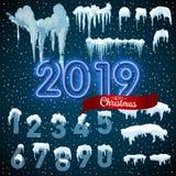 Ontwerp van de de ijskegel het vastgestelde Winter van het sneeuwijs 2019 het malplaatje van de Kerstmissneeuw Sneeuwdiekaderdeco stock illustratie