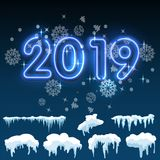 Ontwerp van de de ijskegel het vastgestelde Winter van het sneeuwijs 2019 het malplaatje van de Kerstmissneeuw Sneeuwkaderdecorat vector illustratie