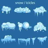 Ontwerp van de de ijskegel het vastgestelde Winter van het sneeuwijs Wit blauw sneeuwmalplaatje Geïsoleerde geplaatste sneeuwkapp vector illustratie