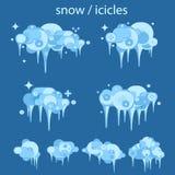Ontwerp van de de ijskegel het vastgestelde Winter van het sneeuwijs Wit blauw sneeuwmalplaatje Geïsoleerde geplaatste sneeuwkapp royalty-vrije illustratie