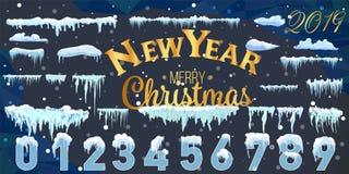 Ontwerp van de de ijskegel het vastgestelde Winter van het sneeuwijs Wit blauw sneeuwmalplaatje Sneeuwdiekaderdecoratie op blauwe stock illustratie