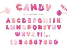 Ontwerp van de suikergoed het glanzende doopvont De kleurrijke roze letters en de getallen van ABC Snoepjes voor meisjes Royalty-vrije Stock Afbeelding