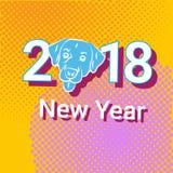 Ontwerp van de de Vakantiedecoratie van nieuwjaar 2018 Pop Art Retro Banner With Dog Stock Foto's