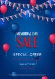 Ontwerp van de vlieger van Memorial Day -verkoop Royalty-vrije Stock Afbeeldingen