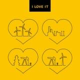Ontwerp van geplaatste de pictogrammen van de lijnenergie Stock Foto's