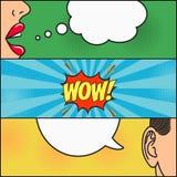 Ontwerp van grappige boekpagina Dialoog van meisje en kerel met toespraakbel met emoties - WAUW De vrouwenlippen en bemant oor Ve vector illustratie