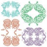 Ontwerp van het borduurwerk het vierkante patroon Stock Afbeelding
