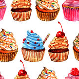 Ontwerp van het Cupcakes het naadloze patroon Stock Afbeeldingen
