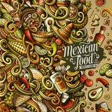 Ontwerp van het de krabbelskader van het beeldverhaal het Mexicaanse voedsel Royalty-vrije Stock Fotografie