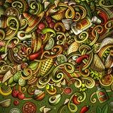 Ontwerp van het de krabbelskader van het beeldverhaal het Mexicaanse voedsel Royalty-vrije Stock Foto