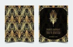 Ontwerp van het de uitnodigingsmalplaatje van Art Deco het uitstekende met illustratie van vector illustratie