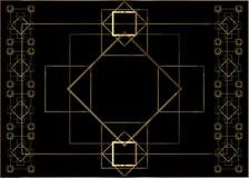 Ontwerp van het de uitnodigingsmalplaatje van Art Deco het uitstekende met illustratie van gouden geometrisch motief Patronen en  Stock Foto