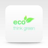 Ontwerp van het Eco het vriendschappelijke embleem op witte doos vector illustratie