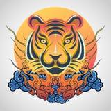Ontwerp van het het embleempictogram van de tijger het hoofdtatoegering, vector royalty-vrije stock foto