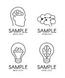 Ontwerp van het het idee het creatieve embleem van de hersenenpsychologie Stock Afbeeldingen