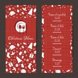 Ontwerp van het Kerstmis het feestelijke menu Stock Fotografie