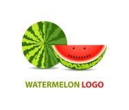 Ontwerp van het watermeloen het vectorembleem Stock Foto's