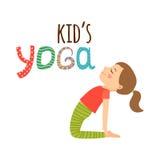 Ontwerp van het yoga het jonge geitjes geïsoleerde embleem stock illustratie