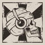 Ontwerp van het zijaanzicht het vector uitstekende grunge van de schedelmuziek royalty-vrije illustratie