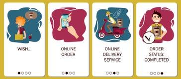 Ontwerp van mobiele toepassing aan het onboarding van de schermen De online ordedienst, koffielevering, ordekoffie in online koff vector illustratie