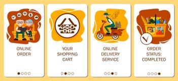 Ontwerp van mobiele toepassing aan het onboarding van de schermen De online ordedienst, voedsellevering, ordekruidenierswinkel in stock illustratie