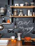 Ontwerp van moderne keuken in zolder en rustieke stijl Krijt royalty-vrije stock afbeeldingen
