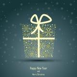 Ontwerp van Nieuwjaar 2014 en Vrolijke Kerstmisdoos Stock Afbeeldingen