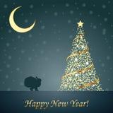 Ontwerp van Nieuwjaar 2014 en Vrolijke Kerstmispostca Stock Foto's