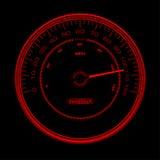 Ontwerp van rode snelheidsmeter, Speedo, klok met inde Stock Foto's