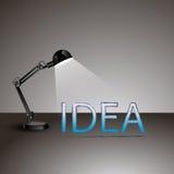 Ontwerp van verlichtingslamp met ideeteken vooraan  Royalty-vrije Stock Foto's